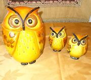 Rare Trio Mint Vintage Poppytrail Owl Cookie Jar And Matching Salt And Pepper