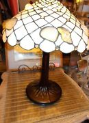 Wonderful Vintage Stained Glass Seashell Table Lamp 24 Tall