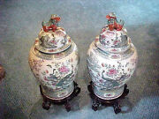 Pair Of Oriental Chinese Porcelain Imari Temple Jars With Stand 32highx16 Wide
