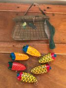 Lot Of Large Wood Fishing Creel And Colorful Plastic Lures Christmas Tree Ornament