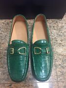 Rl Green Crocodile Buckle Men's Loafers Driving Shoes