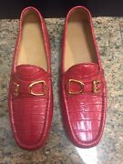 Rl Red Crocodile Buckle Men's Loafers Driving Shoes