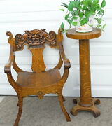 Antique C1900 American Tiger Golden Oak North Wind Carved Green Man Arm Chair