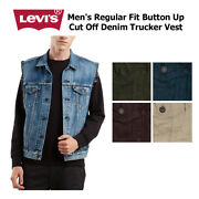 Leviand039s Menand039s Regular Fit Button Up Cut Off Trucker Vest