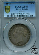 1842 Great Britain Silver 1/2 Crown Pcgs Xf 40 Extra Fine S-3888 Km 740 Coin