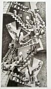 M C Escher House Of Stairs Poster Reprint Warped View Of Reality 14x11 Unsigned