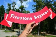 Vintage 50and039s Firestone Supreme Tires And Rubber Diecut Flag Sign Nice Collectableandnbsp
