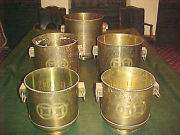Set Of 5 Vintage Asian Round Chinese Etched Chinoiserie Brass Planter Patina