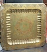 Antique Large Size Brass Copper Tray 45 Andtimes45 Hand Carved And Hand Painted Enamel