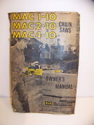 Mac 1-10 2-10 4-10 Chain Saws Owners Manual Mcculloch Corp 1966