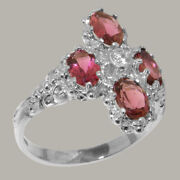 18ct 750 White Gold Natural Diamond And Pink Tourmaline Womens Cluster Ring