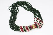 Kenneth Jay Lane Kjl 1960's Jewels Of India Red Green Glass Beads Necklace