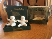 Lot Of 2 Department 56 Snowbabies Hold On Tight And White Bisque Clip-on Angel