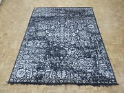 7and03910 X 9and03911 Hand Knotted Black Broken Design Tone On Tone Oriental Rug G5356