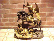 Bronze Gilded Figure19 Century Saint George Slaying The Dragon On His Horse