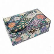 Mother Of Pearl Trinket Jewelry Box Jewel Case Organizer Flower And Peacock 201
