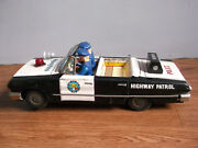 Rare Vintage Battery Powered Chevrolet Open Police Tin Toy Car Made In Japan.