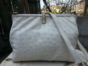 Mid-century High Style Deco White Ostrich Leather Purse Bag Rare Vintage