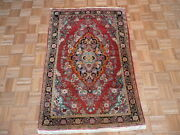3and0395 X 5 Hand Knotted Red Antique Fine Sarouk Oriental Rug G1848