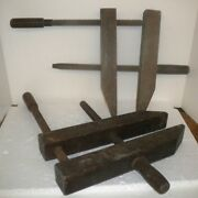 2 Antique Wooden Furniture Wood Hand Vise Clamps Large 7 Opening