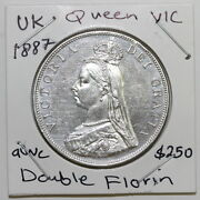 Uk Gb Great Britain Double Florin 1887 Silver Aunc Scl2/59