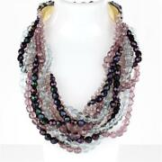 Coppola E Toppo Italy Multi-strand Shades Of Purple Crystal Beads Necklace