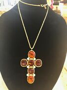 Stunning Jumbo Kenneth Jay Lane Topaz Glass And Pearl Cross Necklace