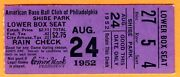 Nice 1952 Philly A's/chi White Sox Ticket Stub At Shibe Park-8/24/52