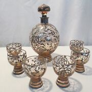 Antique 19c Nouveau Czech Art Glass Sterling Silver Overlay Decanter And Cordials
