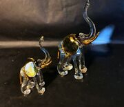 Pair Of Clear Blown Glass Elephants With Gold Ears 4.5 And 3 Tall