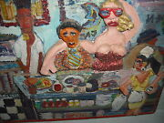 Outsider Folk Art Painting On Wood With Carved 3d Lunch Counter Folks