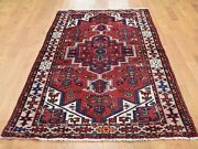 3and0396x6and0399 Vintage Bohemian With Birds Pure Wool Red Tribal Oriental Rug G45438