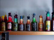 Hand Made Liqueur Bottle Set X 8 Bottles From Beeswax Very Unique Art
