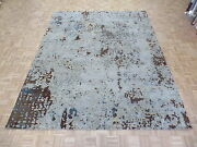 9and0392 X 11and0398 Hand Knotted Soft Aqua Blue Modern Abstract Oriental Rug Wool G4491