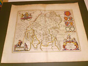 100 Original Large Westmorland Map By J Blaeu C1648 Hand Coloured