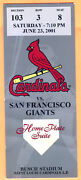 Giants Barry Bonds Hr 533 Special Suite Ticket Stub@cardinals/pujols-6/23/01