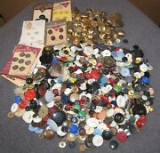 Vintage 2+ Lbs Buttons Mixed Lot Mother Of Pearl Shell Metal Glass Plastic Wood