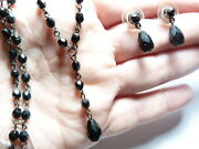 Haskell Jewels Silver Tone Black Faceted Crystal Necklace Earring Set Vintage