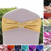 50 Metallic Spandex Chair Sashes With Silver Buckles Party Wedding Decorations