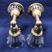 Wired Pair 1900andrsquos Arts And Crafts Brass Wall Sconces Vintage Shades Fixtures 19b
