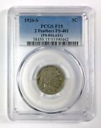 1920-s 5andcent Buffalo Nickel Andndash 2 Feathers Fs 401 016.631 Andndash Pcgs F 15
