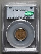 1907 Indian Head 1¢ Cent, Pcgs Ms64bn Cac Brown Penny