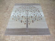 8 X 10and0392 Hand Knotted Beige Tree Of Life Gabbeh Oriental Rug With Silk G5848