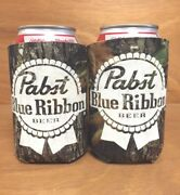 Pabst Blue Ribbon Pbr Real Tree Camo Beer Can Bottle Koozie Cooler New 2 Pack