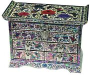 Jewelry Box Jewel Case Organizer 4 Drawers With Mirror Peony And Butterfly 703