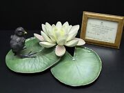 Royal Worcester Dorothy Doughty Moorhen Chick And Water Lily Porcelain Figurine