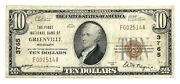 Greenville Mississippi Ms 10 National Bank Note 1929 Ty 1 Ch 3765