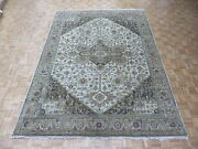 9and0392 X 12and0394 Hand Knotted Ivory Brown Fine Oriental Rug Serapi Oushak Heriz G4527
