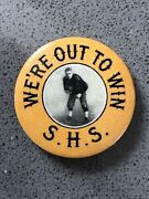 Vintage Early Leather Helmet Football Pinback Button - Red Grange Era - Graph