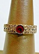 Antique Russian 18k Yellow Gold Ring Band With Rose Cut Diamonds And Ruby